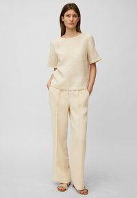 Marc O'Polo - BLOUSE SHORT SLEEVE CHEST POCKET STYLE - Blouse - summer taupe - 1