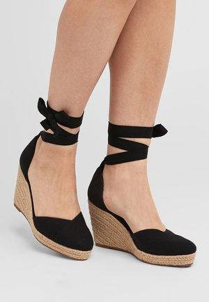 NAVY ANKLE TIE ESPADRILLE WEDGES - High heeled sandals - black