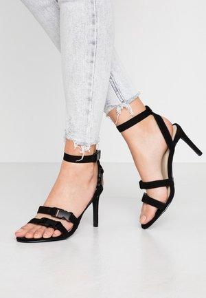 BUCKLE STRAP - High heeled sandals - black