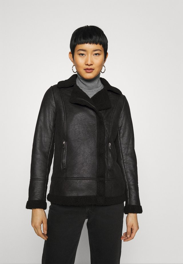COATED SHEARLING AVIATOR JACKET - Giacca da mezza stagione - black
