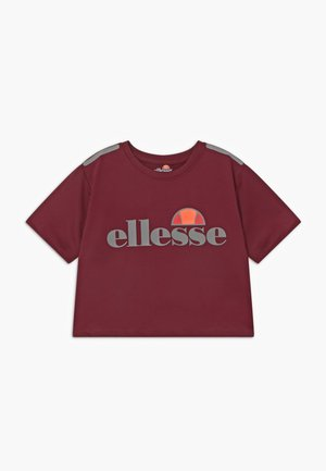 LISSARO CROPPED PERFORMANCE TEE - T-shirt z nadrukiem - burgundy