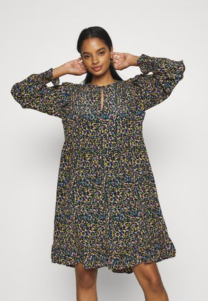 PRINTED DRAPEY DRESS WITH SHOULDER RUFFLES - Day dress - multicoloured