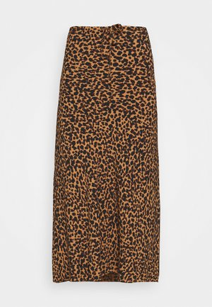 PULL ON MIDI SKIRT SLIT IN LEOPARD - Maxi skirt - brown