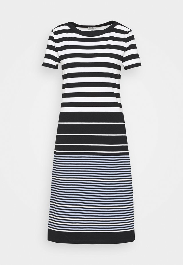 DRESS STRIPED - Sukienka z dżerseju - black/white