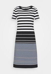 DRESS STRIPED - Jersey dress - black/white