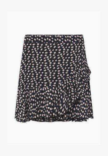 TEEN GIRL FLOWER RUFFLE WRAP - Wrap skirt - schwarz