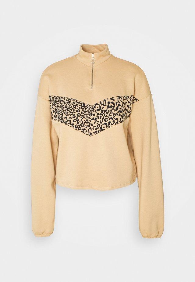 NMHALLY COLOR BLOCK - Sweatshirt - beige