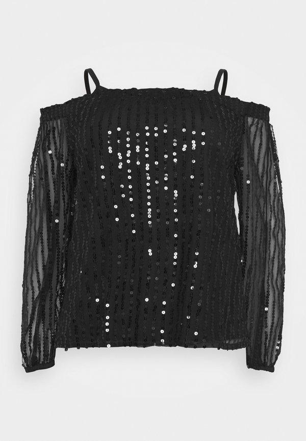 CAPSULE by Simply Be SEQUIN BARDOT - Bluzka - black/czarny XDXB