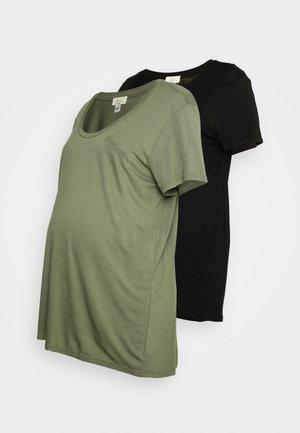 2PACK NURSING LAYERED  - Basic T-shirt - khaki