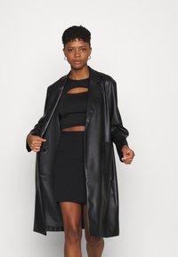 Even&Odd - Basic mini ribbed skirt - Kynähame - black - 3