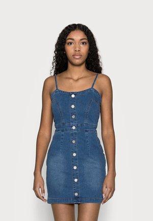 BUTTON DETAIL STRETCH MINI DRESS - Denimové šaty - light blue