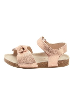 PINK SUEDE BOW CORKBED SANDALS (YOUNGER) - Sandalen - gold