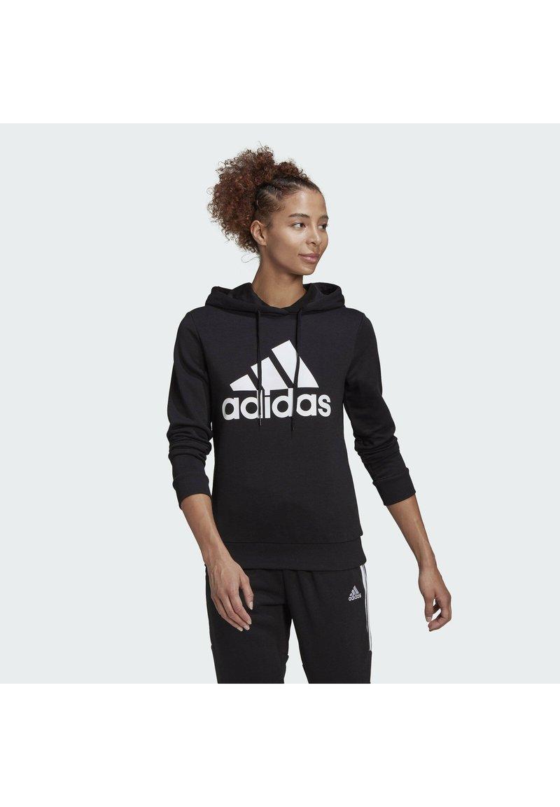 adidas Performance - ESSENTIALS RELAXED LOGO HOODIE - Hoodie - black