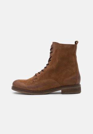 LEATHER - Bottines à lacets - cognac