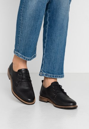 LEATHER LACE UPS - Oksfordki - black