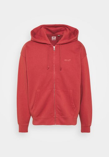 RED TAB ZIP HOODY - Zip-up sweatshirt - marsala