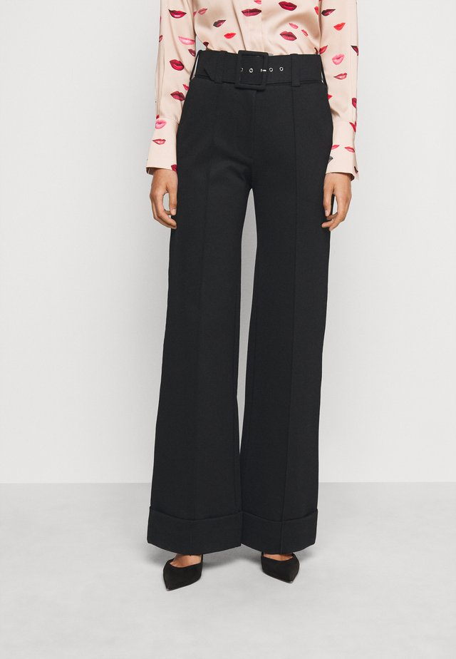 BELTED JERSEY TROUSER - Stoffhose - black