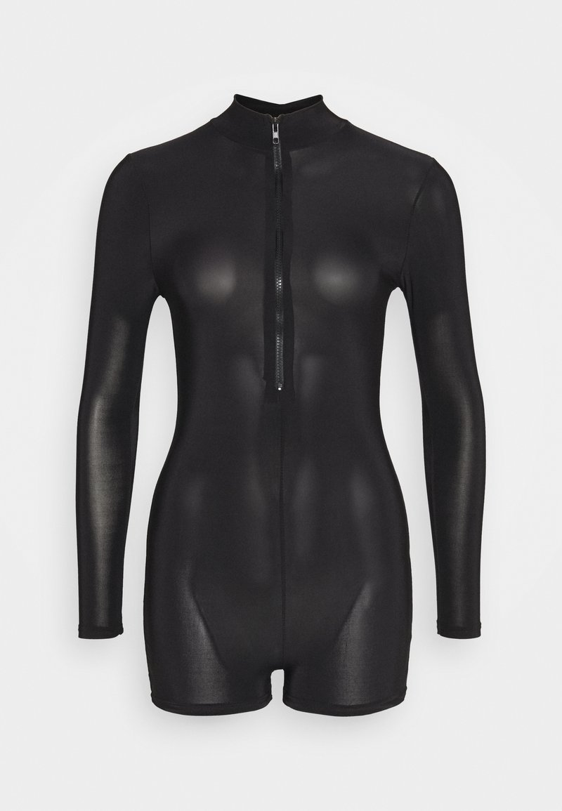 Missguided Petite - ZIP FRONT UNITARD - Overal - black