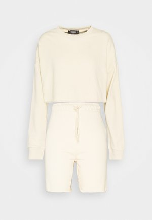 CROP CYCLING SHORT SET - Mikina - offwhite