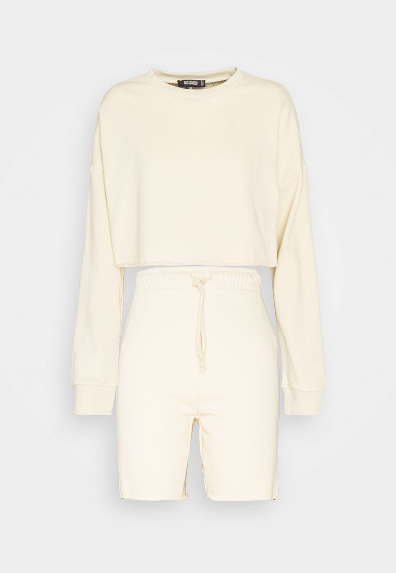 Missguided - CROP CYCLING SHORT SET - Sweatshirt - offwhite