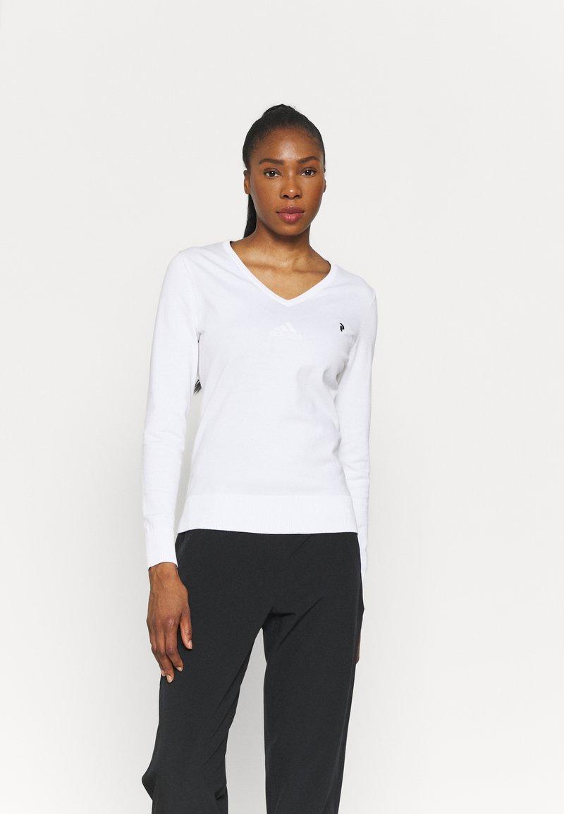 Peak Performance - CLASSIC V NECK - Long sleeved top - white