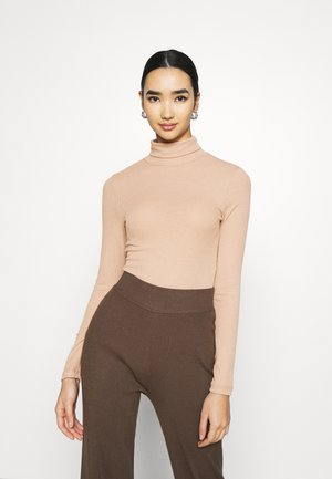 PCPIPPI ROLLNECK - Long sleeved top - warm taupe
