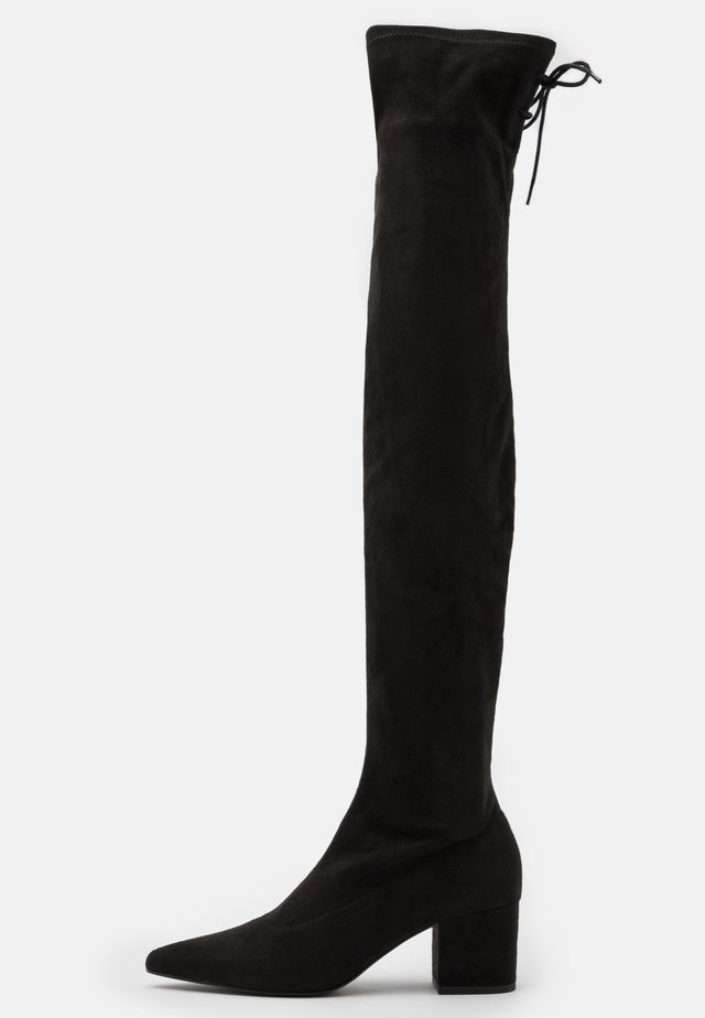 BLOCK HEEL THIGH BOOT - Overknees - black