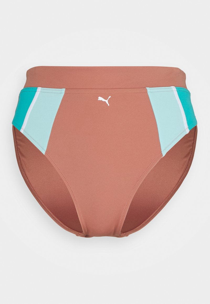 Puma - SWIM WOMEN HIGH WAIST BRIEF - Bikini bottoms - brown