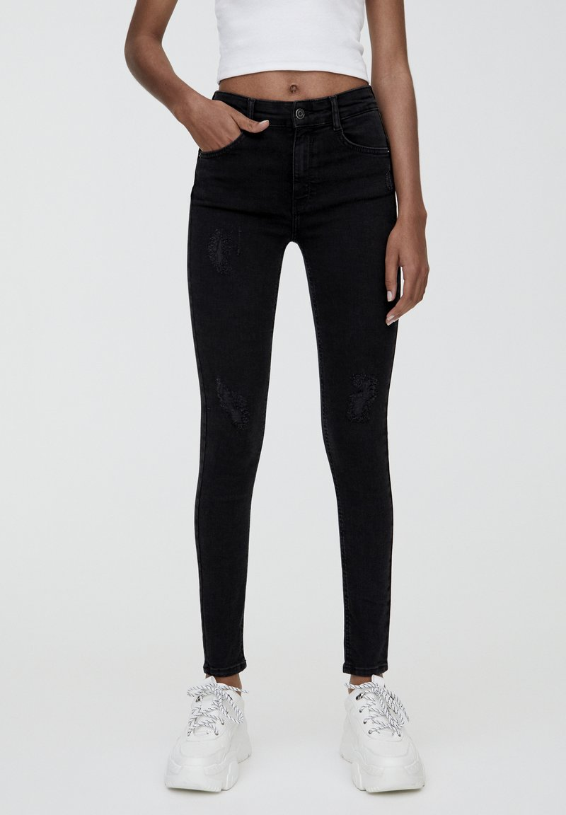 PULL&BEAR - PUSH UP - Jeans Skinny Fit - mottled black