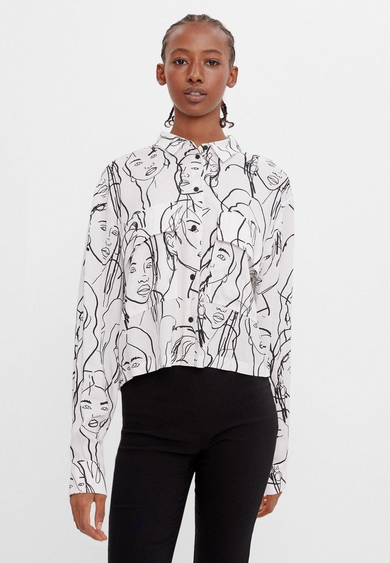 Bershka - Button-down blouse - dark grey