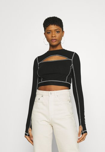 RETRO CUTOUT CROPPED TAPE LONGSLEEVE - Long sleeved top - black
