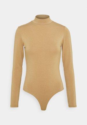 BAMBOO HIGH NECK BODYSUIT - Long sleeved top - camel