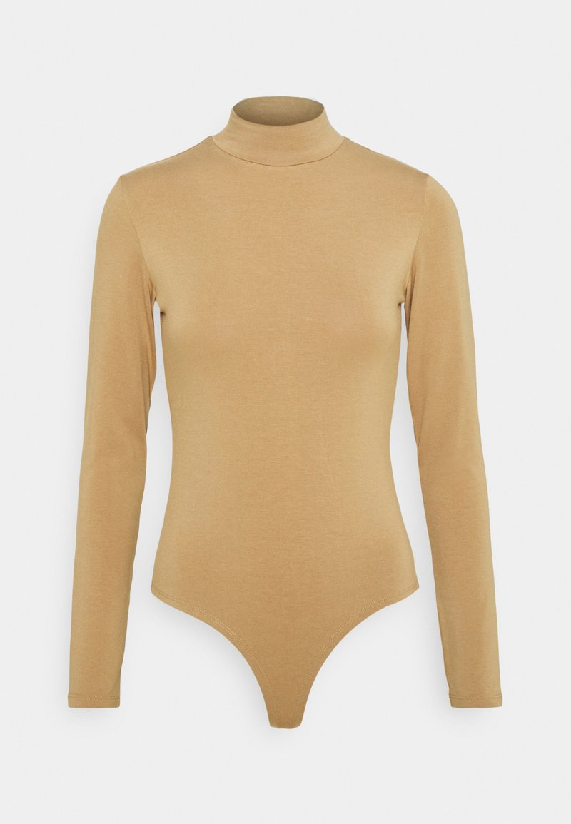 NU-IN - BAMBOO HIGH NECK BODYSUIT - Long sleeved top - camel