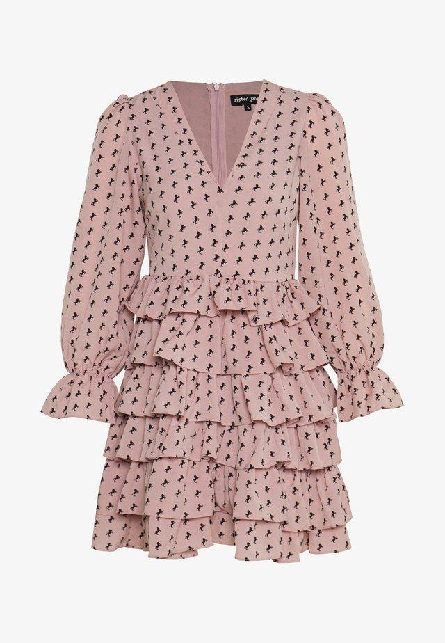 WILD HORSES RUFFLE MINI DRESS - Sukienka letnia - pink