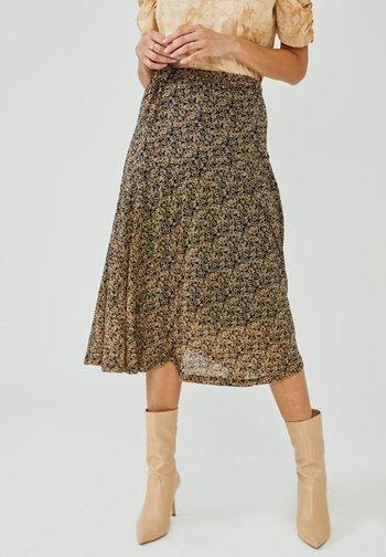 FRAIDA - A-line skirt - black dessin