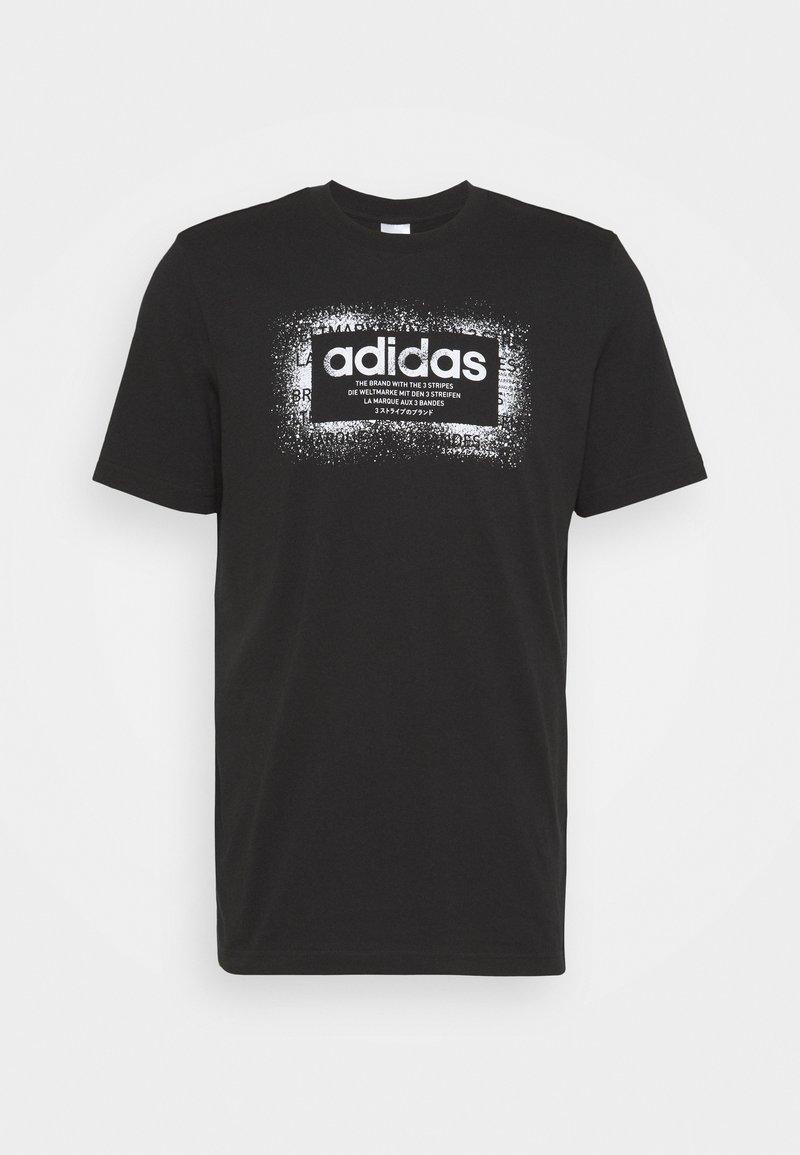 adidas Performance - T-shirt con stampa - black/white