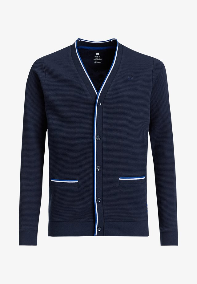 MET RIBSTRUCTUUR - Cardigan - navy blue