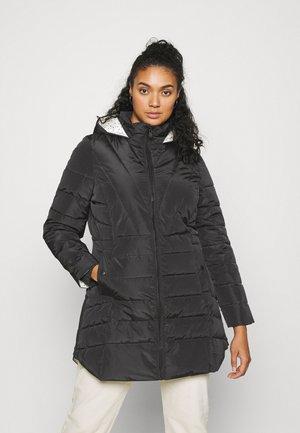 WATER RESISTANT LONGLINE PADDED COAT WITH SIDE ZIPS - Zimní kabát - black