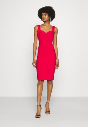 HERVE LEGER X JULIA RESTOIN ROITFELD SWEETHEART MIDI DRESS - Pouzdrové šaty - rio red
