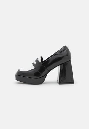 VEGAN BENNY LOAFER - Classic heels - black/white