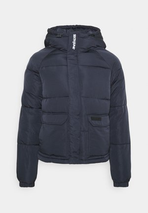 RAGLAN SLEEVE JACKET WITH DETAILS ON HOOD - Winter jacket - dark blue