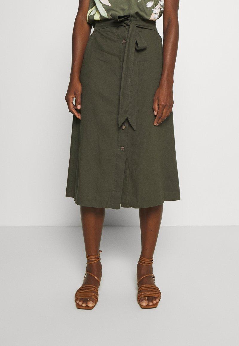 GAP - V TIE FRONT MIDI SKIRT - A-line skirt - baby tweed