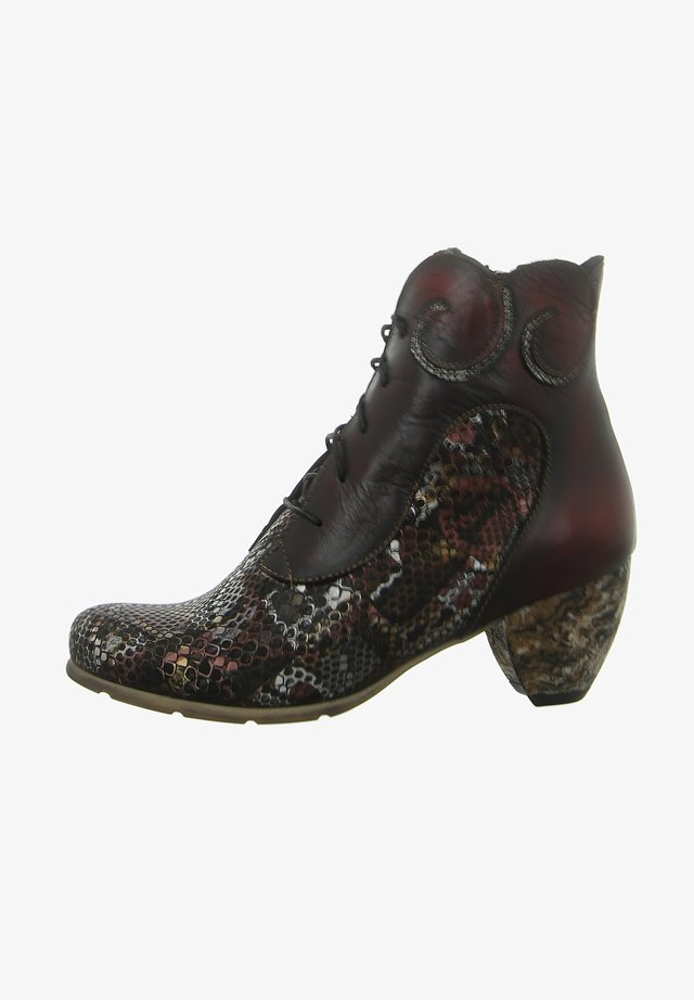 Lace-up ankle boots - weinrot
