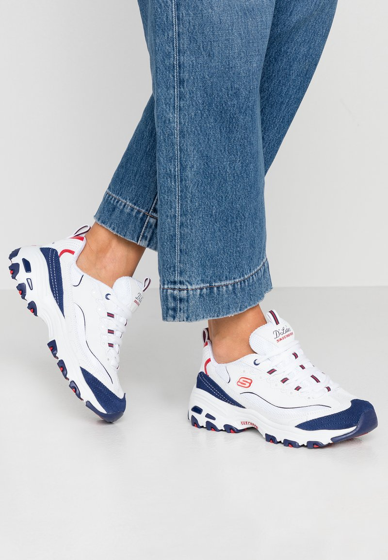 Skechers Sport - D'LITES - Trainers - white/navy/red