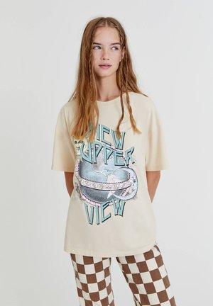 PLANETENMOTIV - Print T-shirt - mottled beige