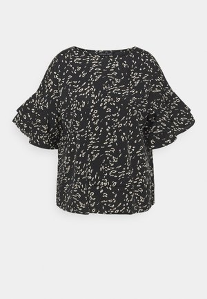 ANIMAL PRINT FLUTED SLEEVE BLOUSE - Print T-shirt - black