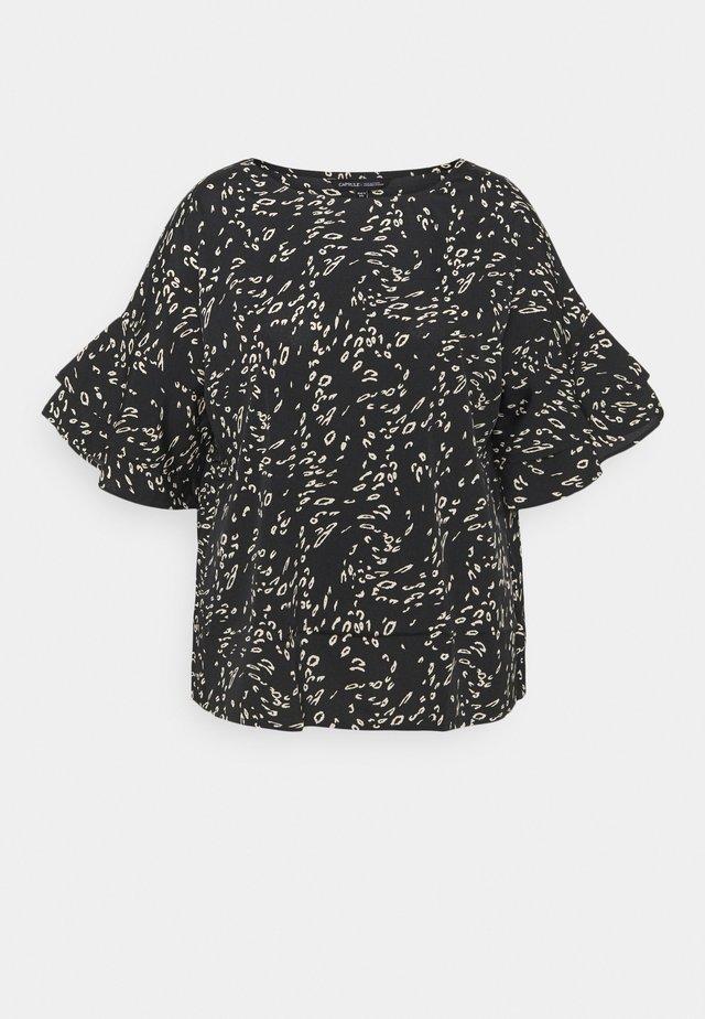 ANIMAL PRINT FLUTED SLEEVE BLOUSE - T-shirt imprimé - black