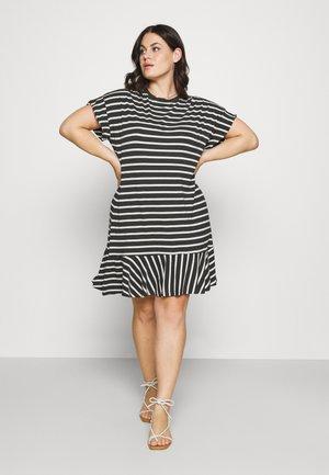 HEM DRESS - Žerzejové šaty - black/white