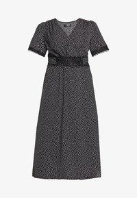 Fashion Union Plus - TRIM WRAP DRESS - Day dress - black/white - 4