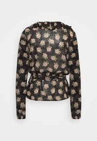 Missguided Tall - RUFFLE LONG SLEEVE WRAP FLORAL PRINT - Blouse - black - 1